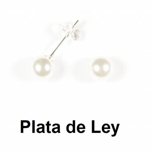Pendientes perla 6 mm y plata