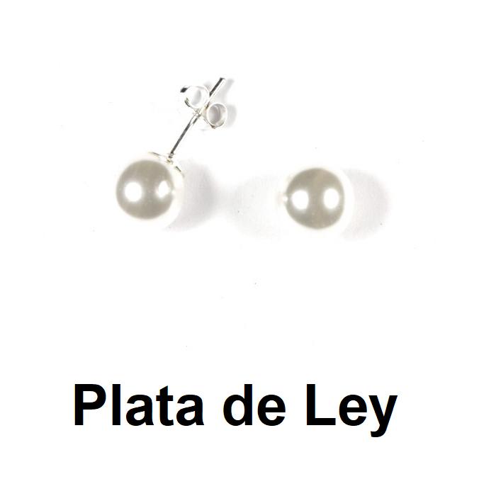 Pendientes perla 8 mm y plata