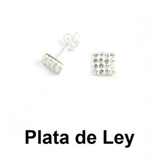Pendientes cuadrados cristal strass y plata 5 mm