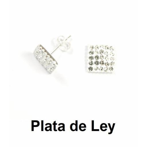 Pendientes cuadrados cristal strass blanco y plata 9 mm