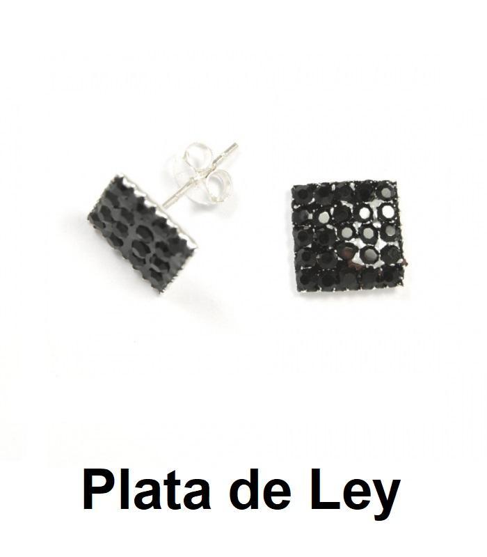 Pendientes cuadrados cristal strass negro y plata 8 mm