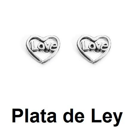 Pendientes mini corazon love plata