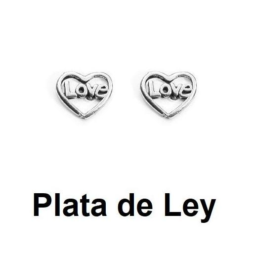 Pendientes mini corazon love plata