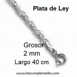 Cadena plata enroscada 40 cm.