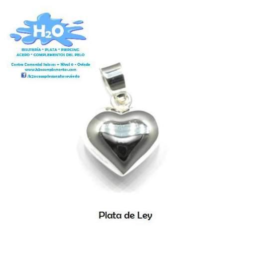 Colgante corazón plata lisa