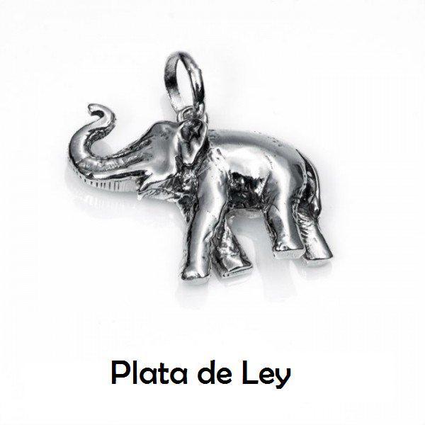 Colgante elefante grande plata