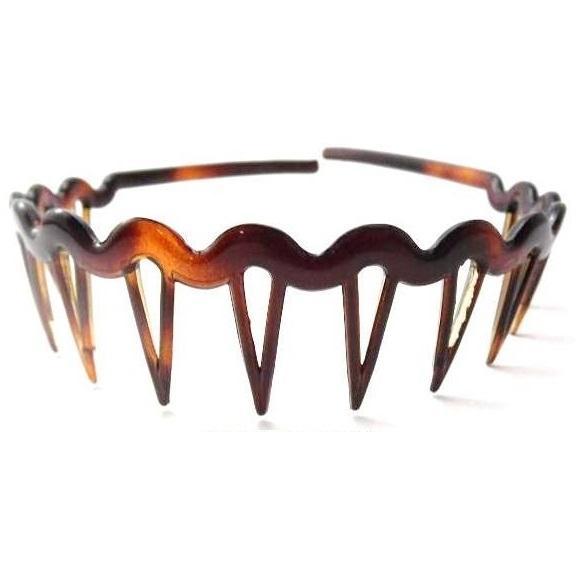 Diadema acetato concha ondulada con pinchos