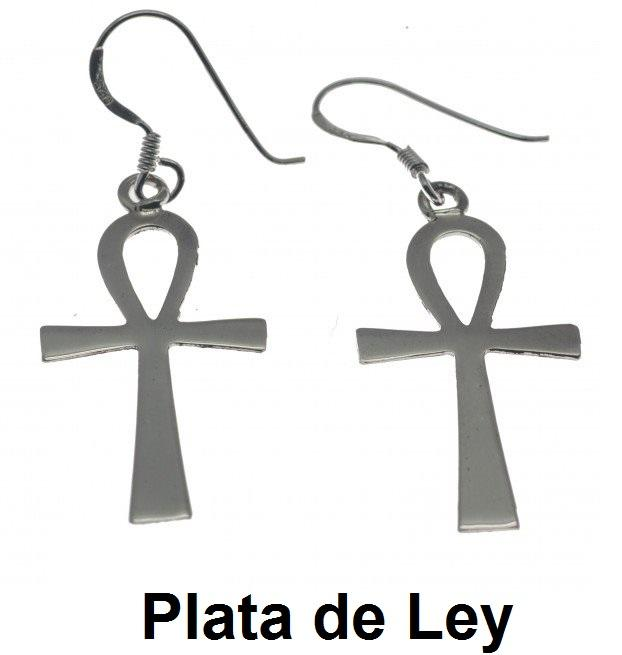 Pendientes cruz egipcia plata lisa