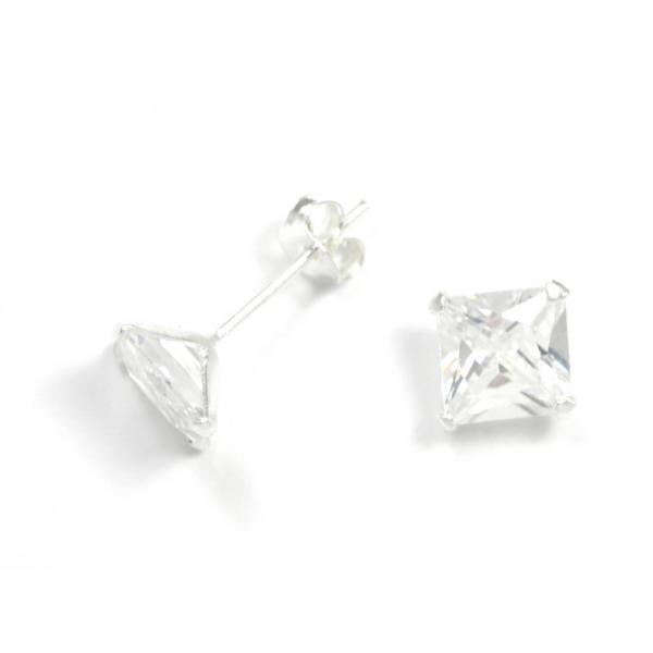 Pendientes plata y cristal strass blanco 6 mm