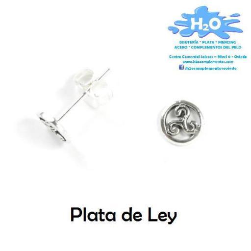 Pendientes trisquel con circulo miniatura plata  [1]