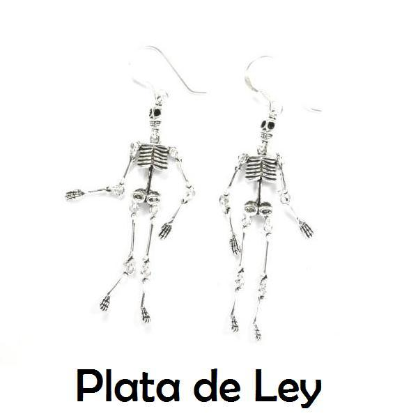 Pendientes colgar esqueleto plata