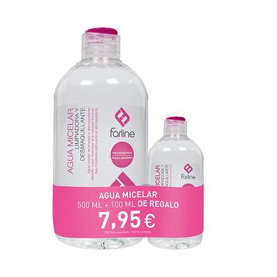Agua Micelar Limpiadora y Desmaquillante Ojos y Rostro Farline 500 mL