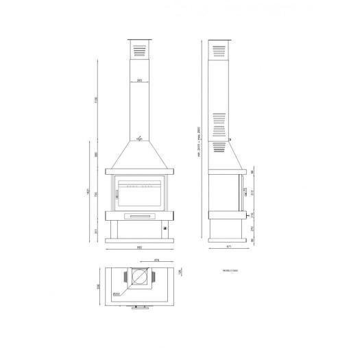 CHIMENEA METALICA FORNTAL MODELO C-200 [2]