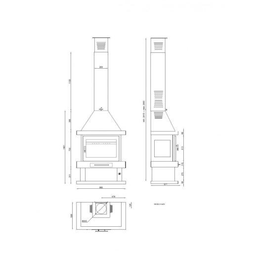 CHIMENEA METALICA FRONTAL MODELO C-200 [2]