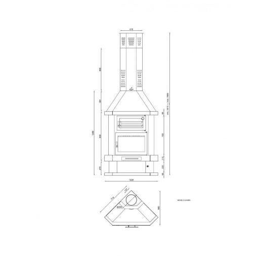 CHIMENEA METALICA RINCON CON HORNO C-100RH [2]