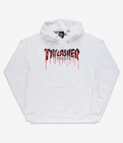 SUDADERA THRASHER BLOOD DRIP HOOD - ASH GREY