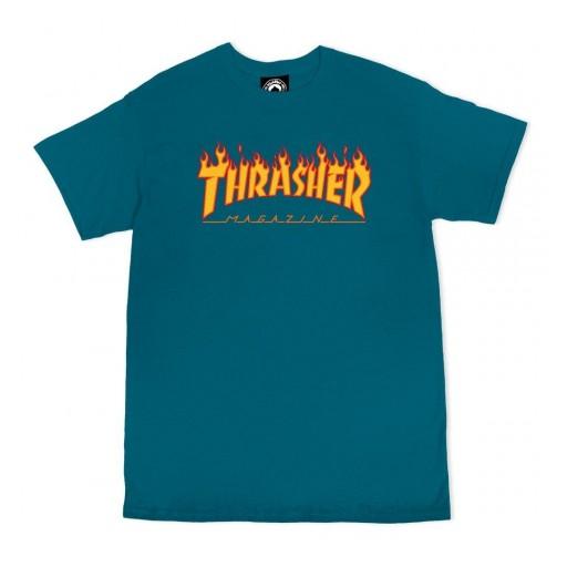 CAMISETA THRASHER FLAME LOGO - GALAPAGOS BLUE