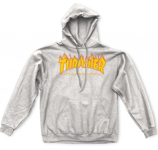 SUDADERA THRASHER FLAME LOGO - GREY