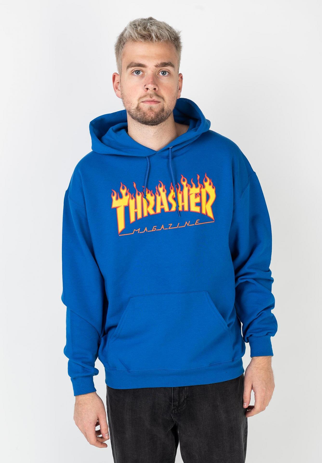 SUDADERA THRASHER FLAME LOGO - ROYAL BLUE