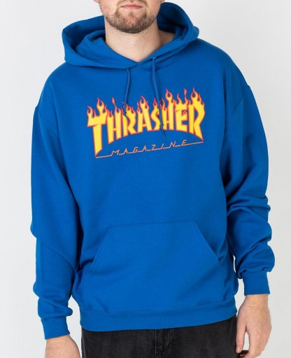 SUDADERA THRASHER FLAME LOGO - ROYAL BLUE