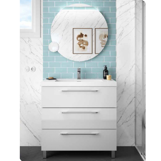 MUEBLE DE BAÑO FUSSION CHROME 90 CM de SALGAR + REGALO