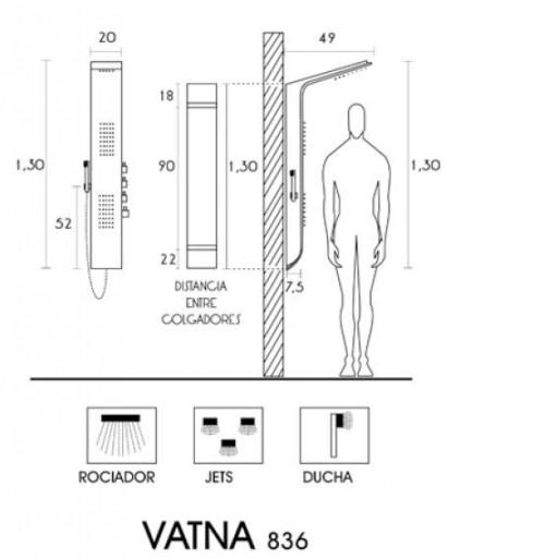 COLUMNA DUCHA HIDROMASAJE VATNA de H2O [2]