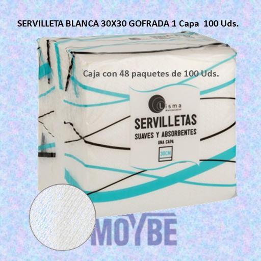 Servilleta Gofrada Blanca 30x30 1 Capa 100 Uds (Caja 48 Unidades)