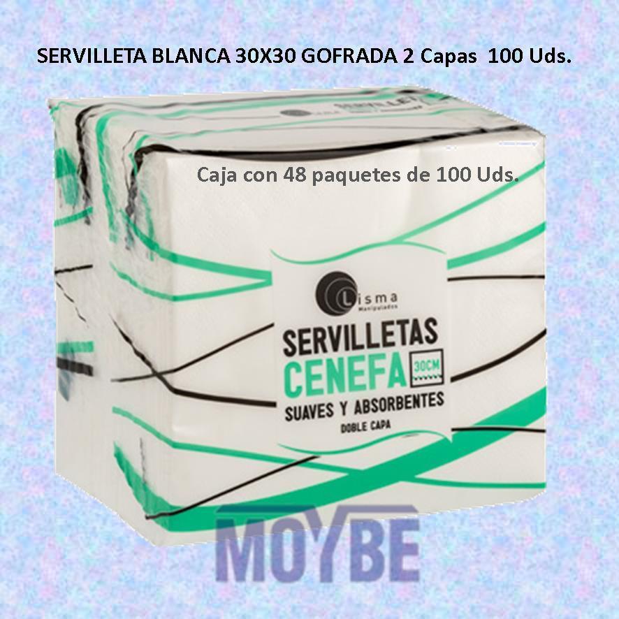 Servilletas Gofrada Blanca 30x30 2 Capas (Caja 48x100 Unidades)