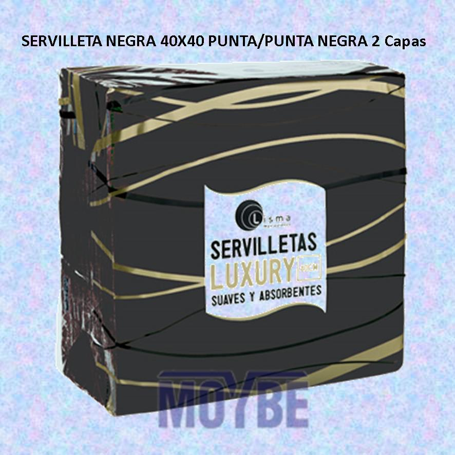 Servilleta Negra Punta Punta 40x40 2 Capas 100 Uds.
