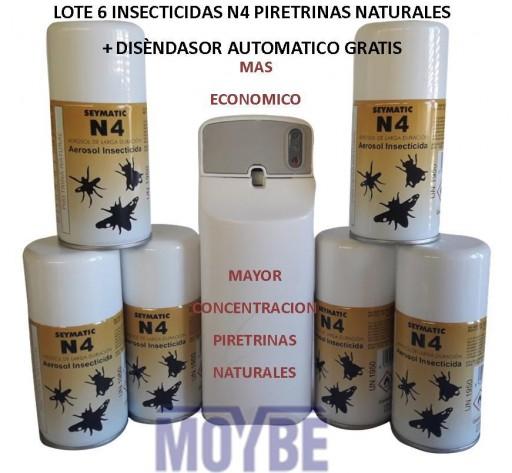 6 Uds. Insecticida Piretrinas naturales N4 + Regalo Dispensador Cargas
