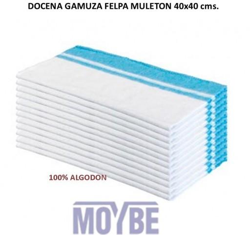 Docena Bayeta Blanca Piso MULETON 40x40 Centímetros