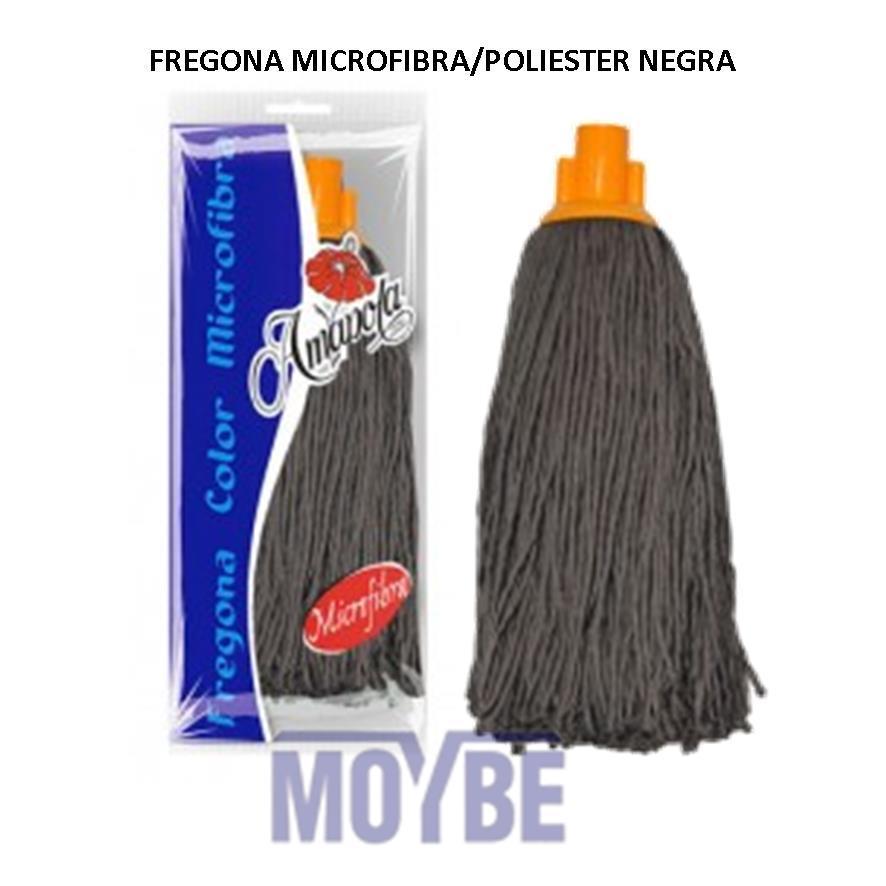 Fregona Microfibra Poliester Negra AMAPOLA