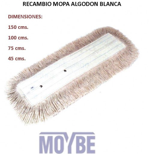 Recambio Mopa Algodón Puro 100cm