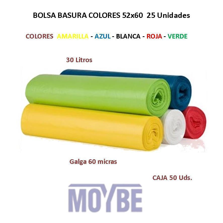 Bolsa de Basura Colores 52x60 Rollo (25 Unidades)