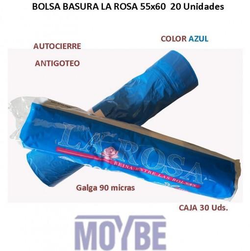 Bolsa Basura Cierre Fácil Azul LA ROSA 20 Unidades