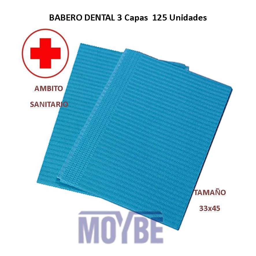 Babero Dental Azul 33x45 cms. Paquete 125 Uds.