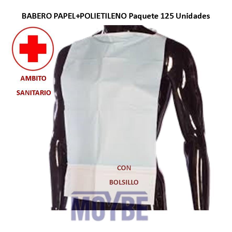 Babero Lite de Papel+Polieileno Con Bolsillo Paquete 125 Unidades