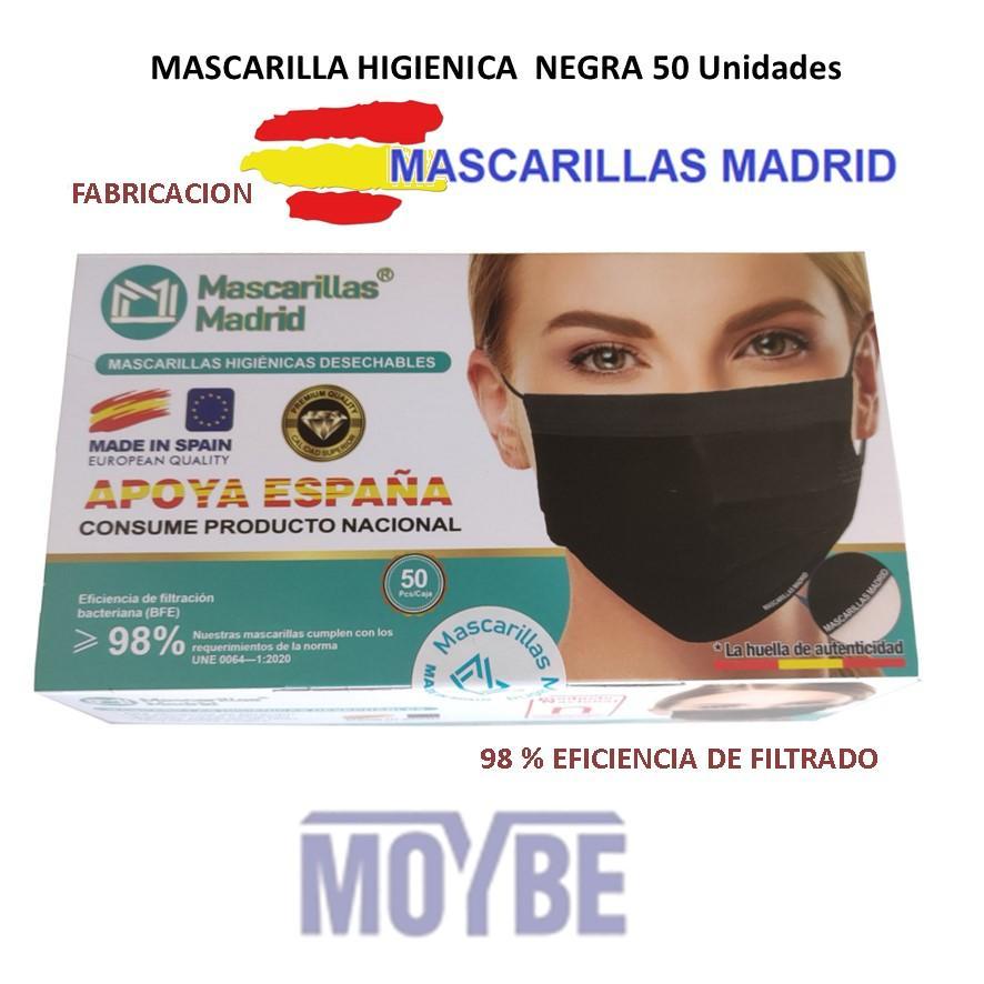Mascarilla Facial Negra Tres Capas  Estuche 50 Unidades