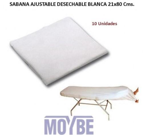 Sábana Desechable Ajustable 80x210x20  10 Unidades