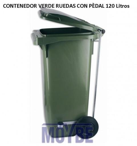 Contenedor Verde Con Ruedas 120 Litros Con Pedal