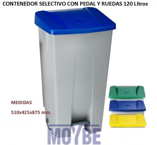 Contenedor Selectivo Ruedas Con Pedal (120 Litros)