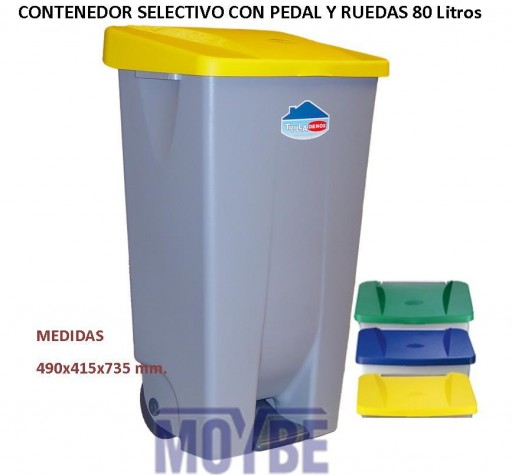 Contenedor Selectivo Ruedas con Pedal (80 litros)