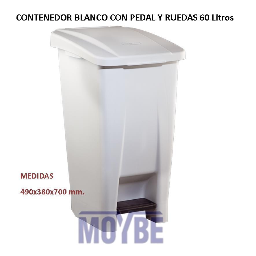 Contenedor Blanco Con Ruedas y Pedal 60 Litros