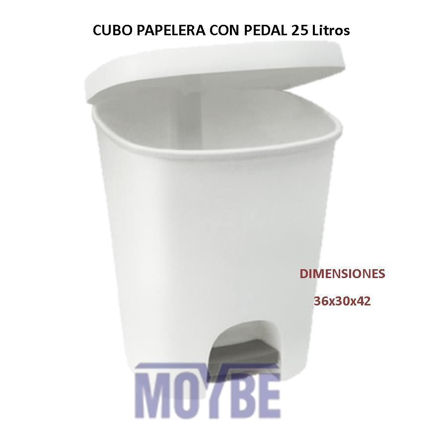 Cubo Papelera Blanco Con Pedal 25 Litros