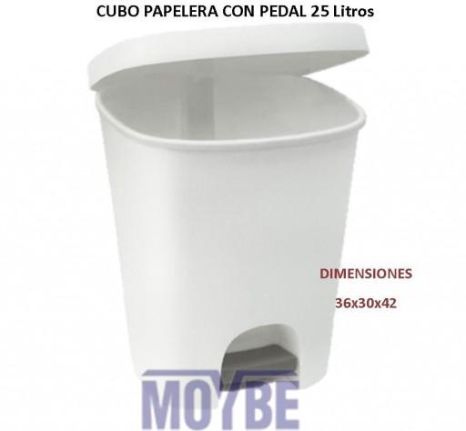 Cubo Papelera Blanco Con Pedal 25 Litros [0]