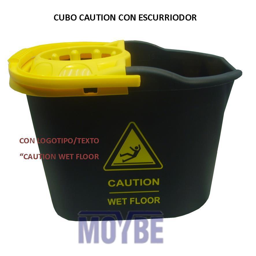 Cubo con Escurridor Rectangular Caution