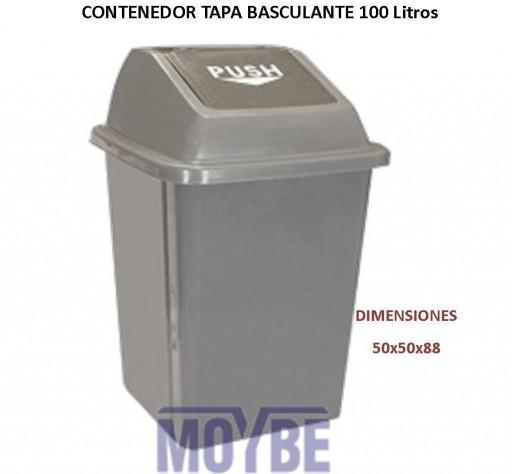 Papelera Gris Tapa Basculante Push (100 litros)