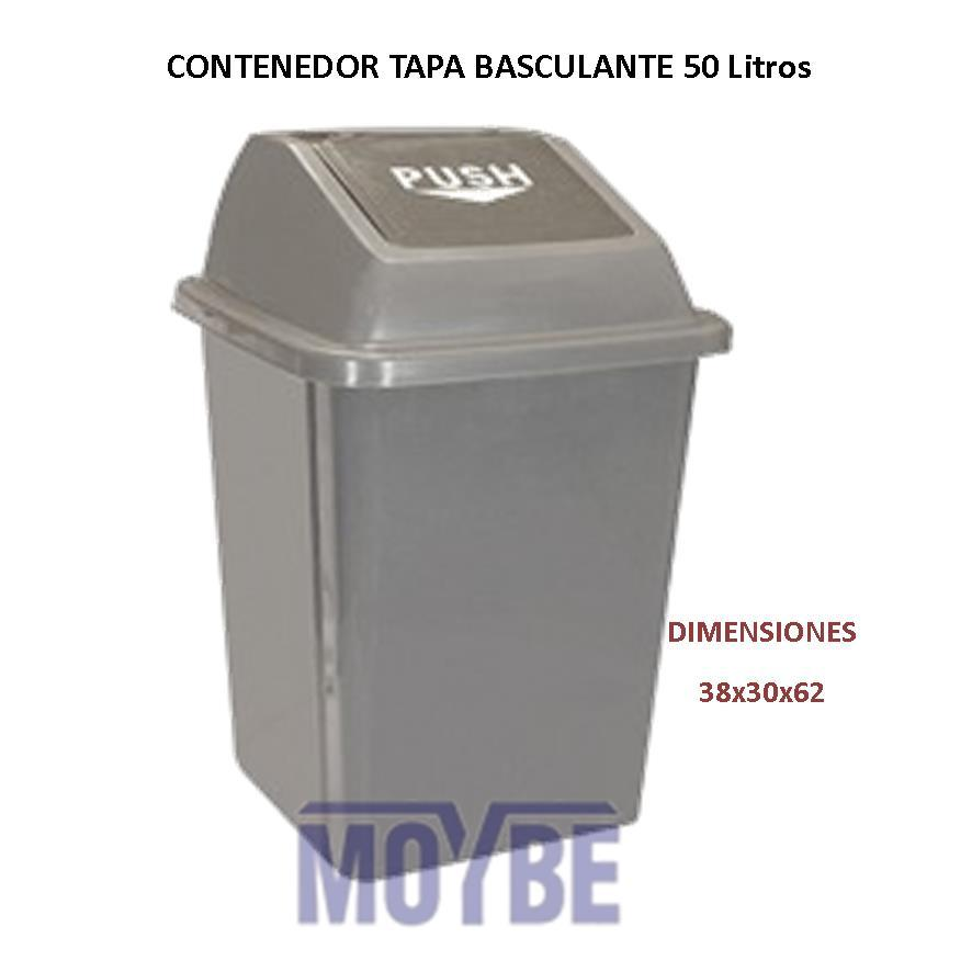 Papelera Gris Tapa Basculante Push (50 litros)