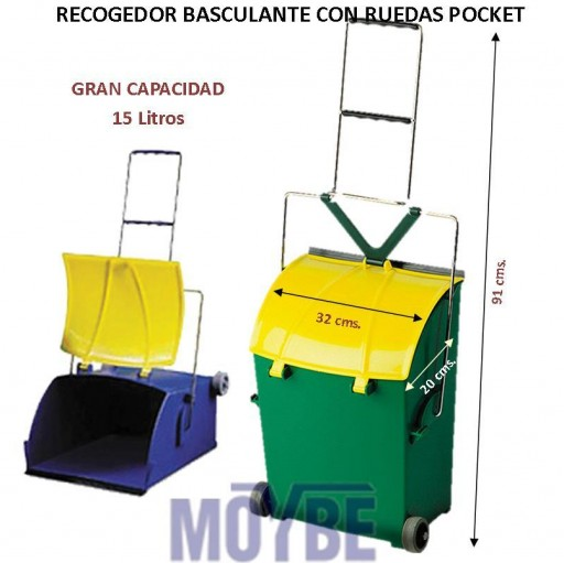 Recogedor Basculante Con Ruedas POCKET 15 Litros