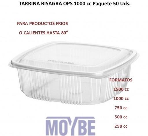 Tarrina Tapa Bisagra OPS 1000c.c. (50 Unidades)